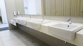 Public empty restroom Stock Photos