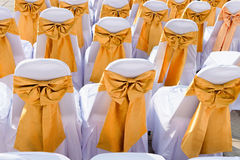 Public Event Seating with Silk Chair Covers and Sashes Royalty Free Stock Photo