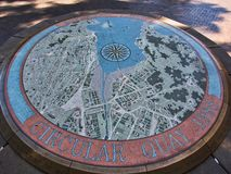 Public Exhibit, Detailed Round Map of Circular Quay, Sydney, Australia. A large round public sculptural exhibit, Circular Quay, Sydney harbour and surrounding royalty free stock photography