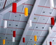 Public Facility Ceiling Design. With colored hanging lamps Royalty Free Stock Photos