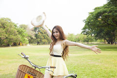 Public feeling refreshed and relaxed in the park. Woman relaxing in the park Stock Images