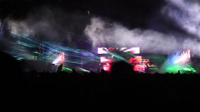Public festival and light show stock video