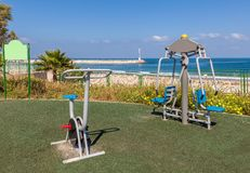 Public fitness equipment in Ahkelon, Israel. Royalty Free Stock Images
