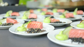 Public Food Festival Event. A line of freshly plated salmons and cucumbers with pyre Stock Photo