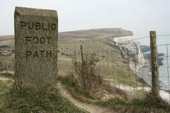 Public foot path dover white cliffs england Stock Photos