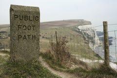Public foot path dover white cliffs england Stock Photos