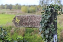 A public footpath directional sign on a nature walk in Essex stock images