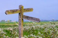 Public Footpath Sign. Old wooden public footpath sign in the countryside against blue sky Stock Photography