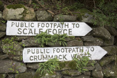 Public Footpath Sign, Buttermere, Lake District Stock Photography