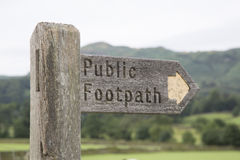 Public Footpath Sign, Grasmere; Lake District. Public Footpath Sign at Grasmere; Lake District; England; UK Royalty Free Stock Photography