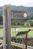 Public Footpath Sign, Grasmere; Lake District Stock Photography