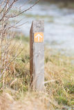 Public footpath sign. Route through dutch nature Stock Image