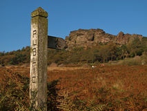 Public Footpath Signpost in the Peak District Stock Images