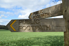 Public footpath signpost. Stock Photo
