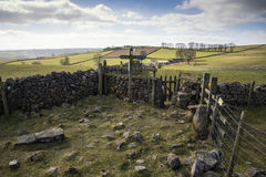 Public footpath signposts in landscape in Peak District UK on su Royalty Free Stock Images