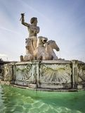 Public Fountain with Neptune and Horses Royalty Free Stock Images