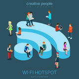 Public free Wi-Fi hotspot isometric concept. Public free Wi-Fi hotspot zone wireless connection flat 3d isometric web banner template. Creative people surfing Royalty Free Stock Photos
