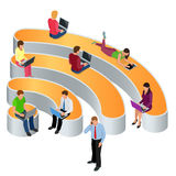 Public free Wi-Fi hotspot zone wireless connection. Social Networking Communication Concept. Isometric flat 3d vector Royalty Free Stock Image