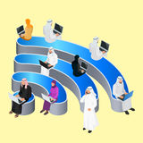 Public free Wi-Fi hotspot zone wireless connection. Social Networking Communication Concept. Isometric flat 3d vector Stock Image