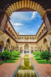 Public garden of Alhambra palace, Spain. Beautiful and romantic architecture of garden inside Alhambra palacel,  Andalusia, Spain Stock Photo