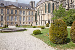Public garden near a cathedral in city Reims Royalty Free Stock Photo