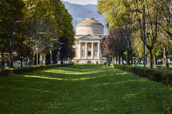 Public garden near the lake in the city of Como, in the background the temple dedicated to the inventions of the famous Alessandro Royalty Free Stock Photography