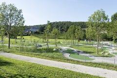 Public garden in Spiez, Switzerland Stock Photos
