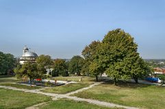 Public garden whit child nook near Sveta Petka christian church Royalty Free Stock Image