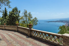 Public gardens and seascape in Taormina, Sicily Stock Photos