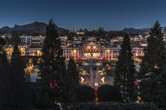 Public Gardens, Varese. Night lighting at the Public Gardens, Varese - Italy royalty free stock photos