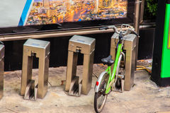 Public green bicycle program for rent to provides residents and. Tourists with around 300 bikes, free of charge, to control the air pollution in Bangkok, the Stock Photos