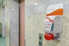 Public hand disinfectant sanitizer dispenser available public am. Public hand disinfectant sanitizer dispenser available in public amenity for hygiene purpose royalty free stock photos