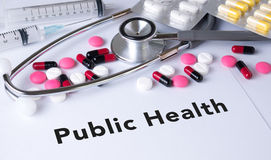 Public Health text on Background of Medicaments Composition Stock Photography