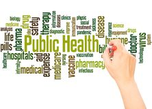 Public health word cloud hand writing concept. Public health word cloud concept on white background stock image