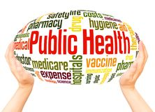 Public health word cloud hand sphere concept royalty free stock photo