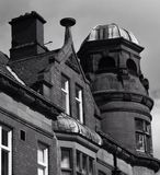 Public house. Black and white upward angle of old pub Royalty Free Stock Images