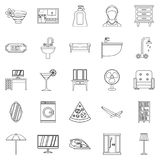 Public house icons set, outline style. Public house icons set. Outline set of 25 public house vector icons for web isolated on white background Royalty Free Stock Images