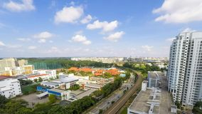 Public Housing. Along the train track in Bukit Batok district in Singapore stock video footage