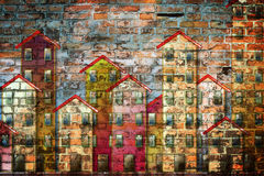 Public housing concept image painted on a brick wall.  Royalty Free Stock Image
