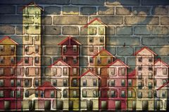 Public housing concept image painted on a danish brick wall - I`m the copyright owner of the graffiti images used in this picture stock images