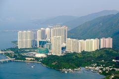 Hong Kong residents Most will live on in tall buildings. Due to royalty free stock image
