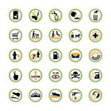 Public Info Pictogram Buttons. Set of public information button signs in semicircles with shadow Royalty Free Stock Image