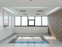 Public interior 3D render. Modern interior corridor. Laconic design Royalty Free Stock Images