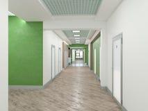 Public interior 3D render. Modern interior corridor. Laconic design Stock Image