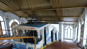 Interior of the funicular station in Kiev royalty free stock photo