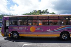 The only public land transport on the island of Mauritius - bus. Public transport on the island of Rodriguez, bus station stock images