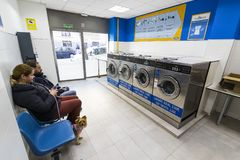 Public Laundry With Mashinam For A Street In The City Of Madrid. Stock Image