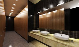 Public lavatory. Interior of a large modern lavatory showing a row of wash basins Stock Photography
