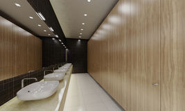 Public lavatory. Row of wash basins in a modern public lavatory Stock Images