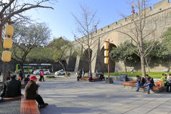 The public leisure under of the xian circumvallation in winter. Xian ancient city, shaanxi province, china. xian wall is chinese largest existing and most royalty free stock image